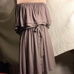 Lush Brand off Shoulder Taupe Dress